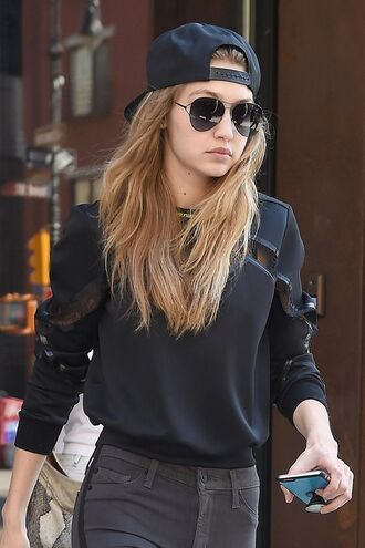 top gigi hadid black top mesh top long sleeves sunglasses aviator sunglasses cap baseball cap jeans grey jeans
