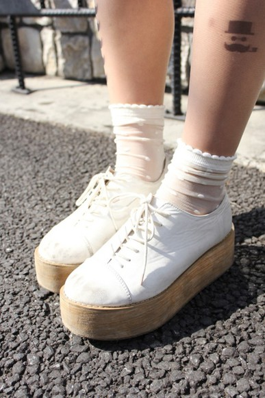 shoes sneakers romantic white wood flatforms