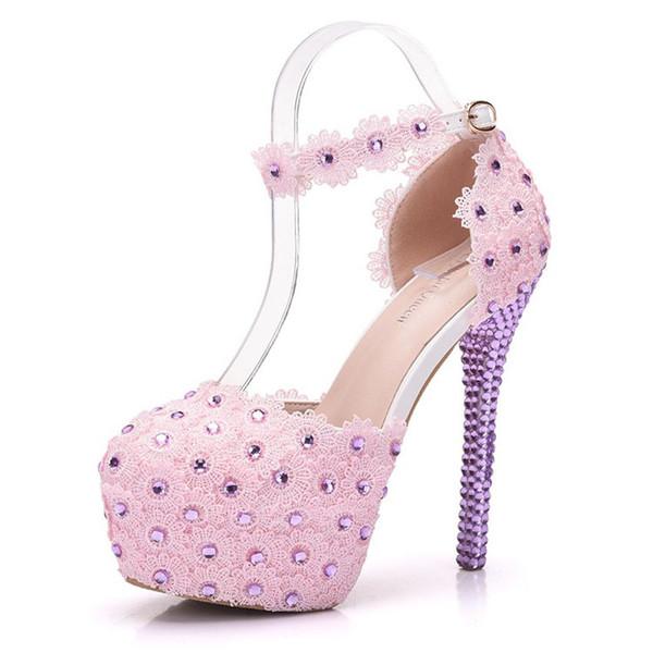 shoes pink lace high heels purple crystal heel pumps ultra high heel sandals closed toe sandals wedding shoes high heels sexy women high heel pumps