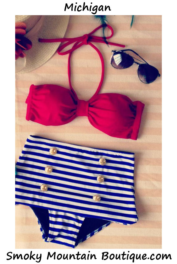 Michigan retro high waist swimsuit (red top and blue & white stripped bottom)
