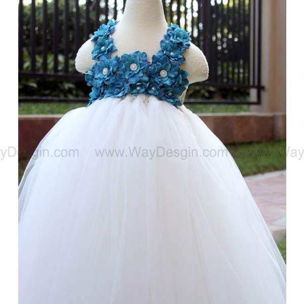 flower girl dress blue flower girl dress toddler birthday dress blue dress dress