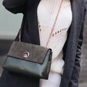 bag,green bag,crossbody bag,suede,suede bag,ted baker,chain bag