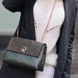 bag green bag crossbody bag suede suede bag ted baker chain bag
