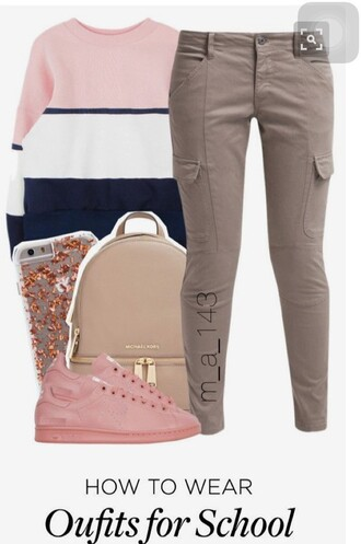 sweater multicolor pink sneakers grey pants backpack outfit