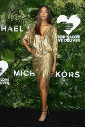 dress,gold,gold dress,jourdan dunn,model off-duty,gown,prom dress,pumps