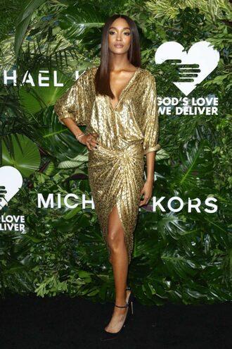 dress gold gold dress jourdan dunn model off-duty gown prom dress pumps