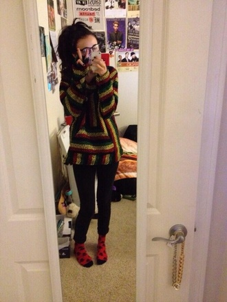 shirt acacia brinley drug rug sweater red black yellow pants
