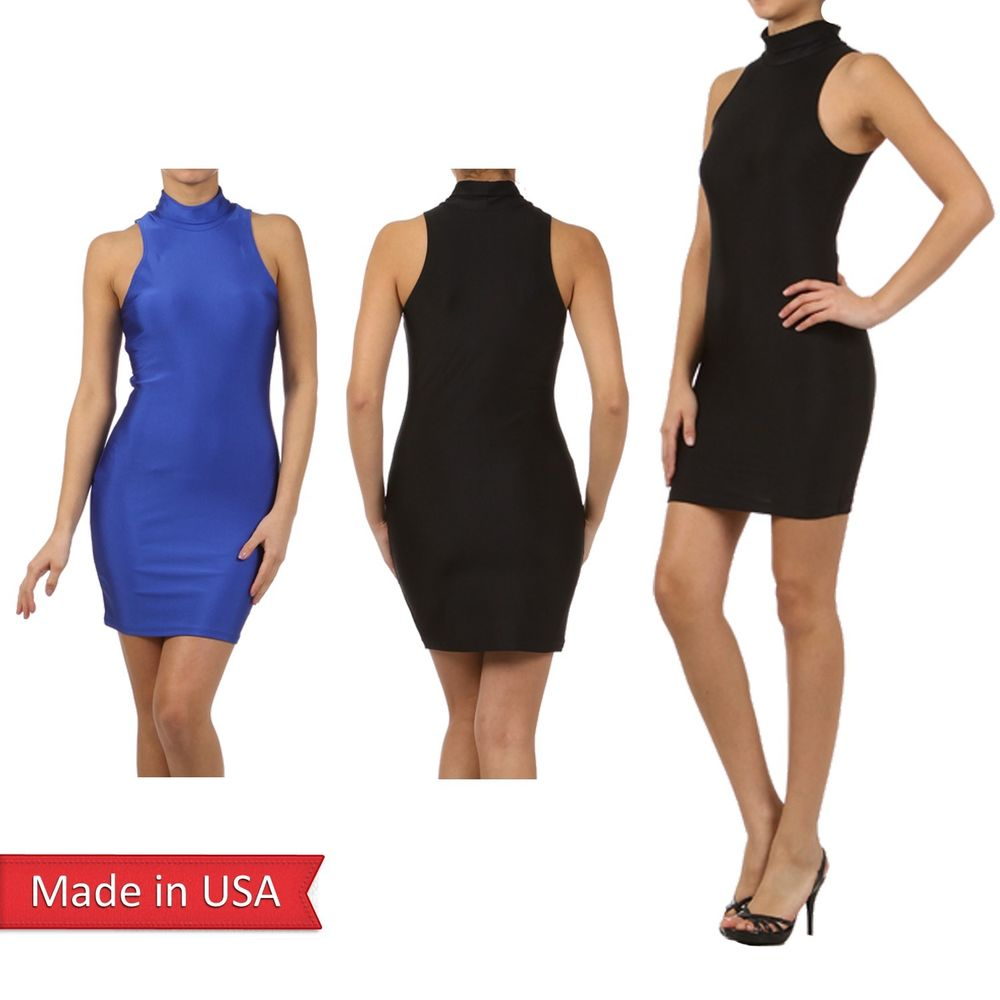 New Women Color Nylon Bodycon Mock Turtle Neck Fitted Sleeveless Mini Dress USA