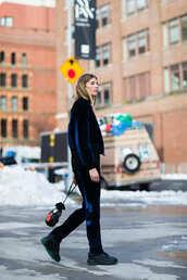 pants,velvet jacket,nyfw 2017,fashion week 2017,fashion week,streetstyle,blue pants,velvet,velvet pants,sneakers,black sneakers,jacket,blue jacket,bomber jacket,bag,bucket bag,monochrome outfit