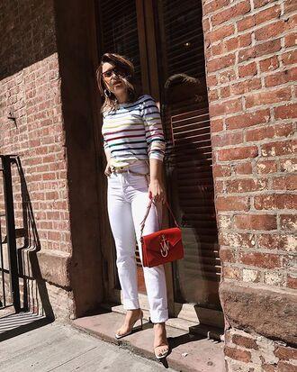 pants white pants heels sandals sandal heels bag red sunglasses stripes striped top