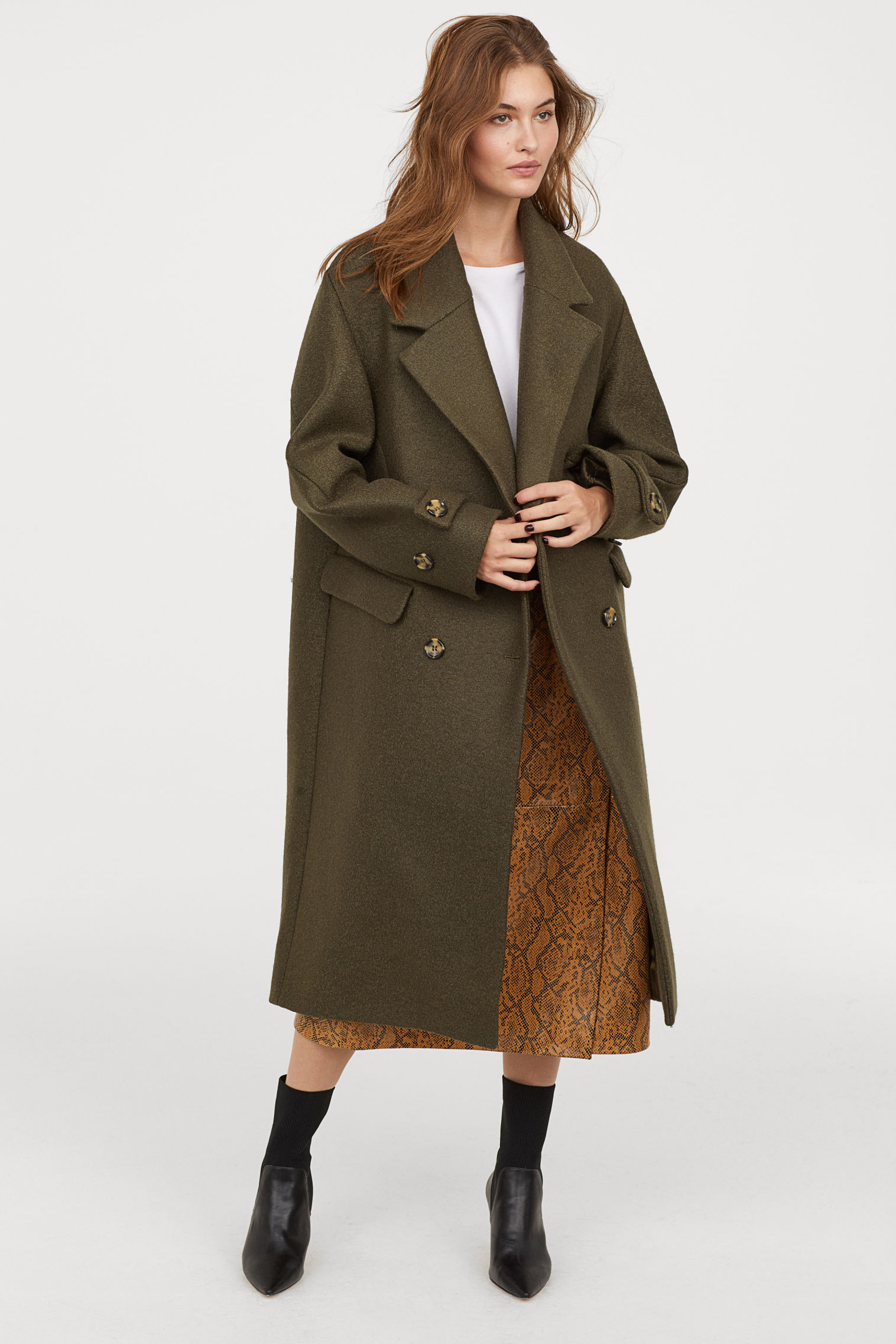 Double-breasted wool coat - Khaki green - Ladies | H&M GB