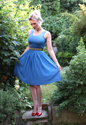 dress,vintage,blue,pleated,1970s