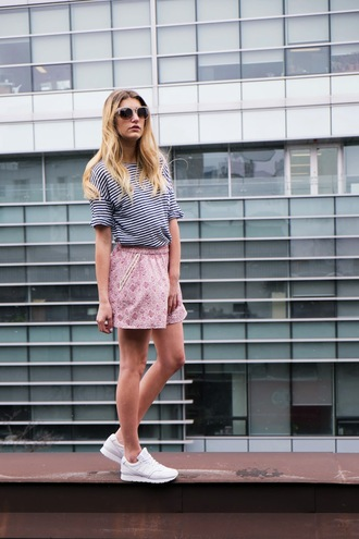 the boho flow blogger striped top pink skirt white sneakers