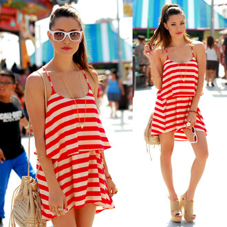 dress heels bag red and white romper rayures red white stripes summer