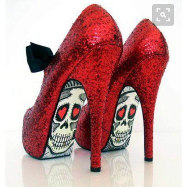 shoes heels pumps glitter shoes red glitter heels skull fbce6d0d8