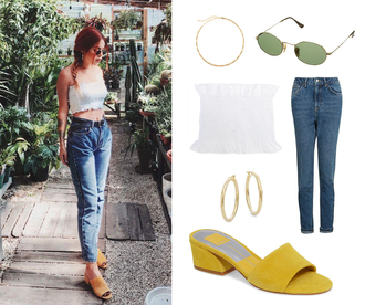 le happy blogger top jeans sunglasses strapless bandeau white top mules yellow shoes sandals summer outfits