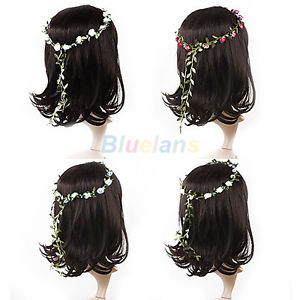 Women boho floral flower festival wedding bridal garland hair headband wreaths