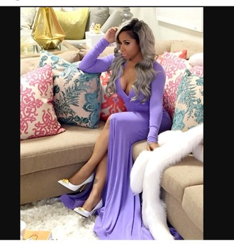 dress shoes high heels heels long sleeves long sleeve dress purple dress pale long dress