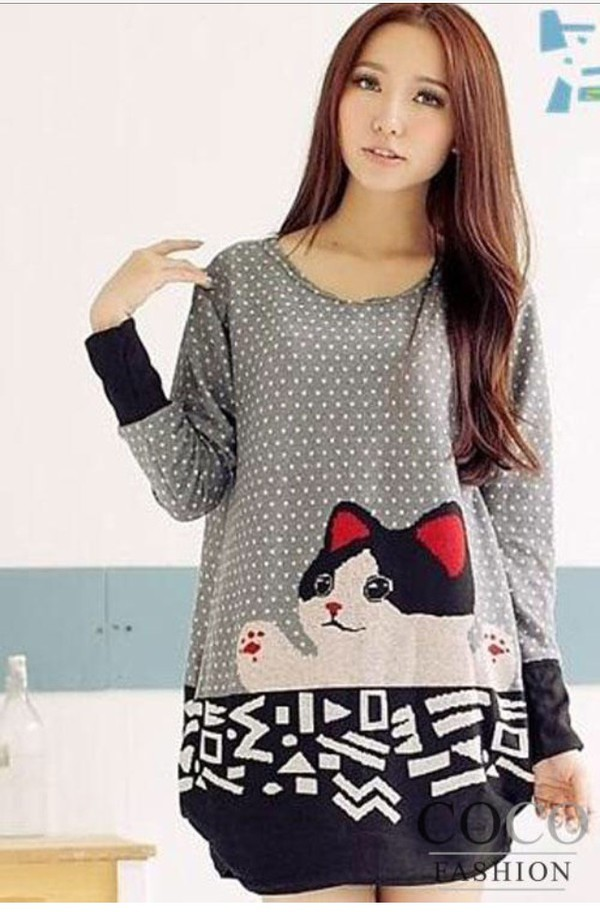 Women Cute Cat Crewneck Long Sleeve Casual Loose Sweater Knitted Blouse Top L Xl W1585 11