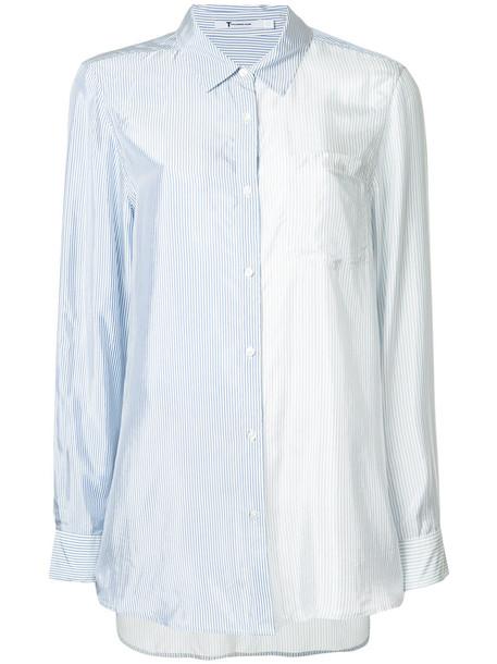 shirt striped shirt women shiny blue top