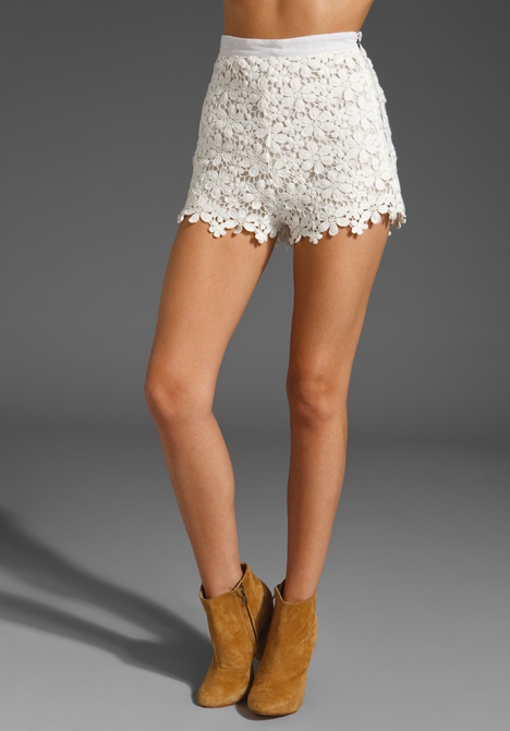 Crochet Daisy High Waist Shorts in White at Revolve Clothing ...