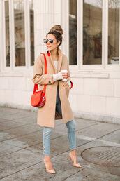 jeans,tumblr,blue jeans,light blue jeans,coat,camel,camel coat,bag,red bag,shoulder bag,sunglasses,pumps,pointed toe pumps,embellished denim,embellished