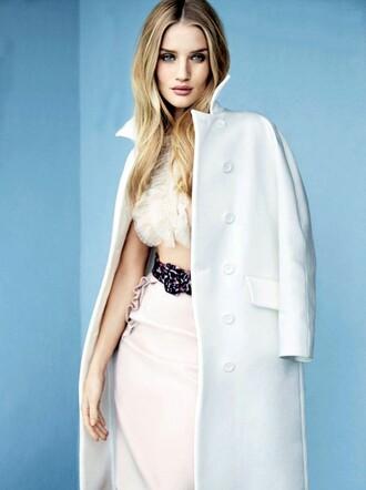 coat rosie huntington-whiteley white belt bra