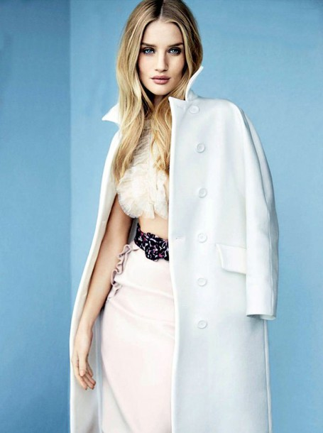 coat rosie huntington-whiteley white belt bra