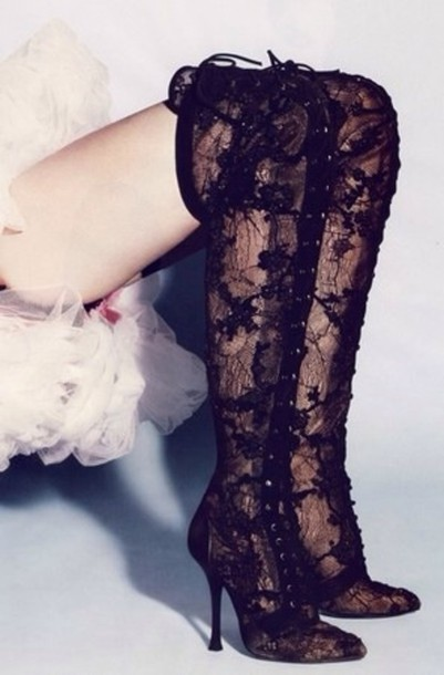 shoes lace up knee high boots lace black
