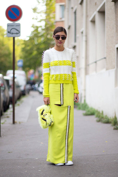 sweater streetstyle fashion week 2014 yellow skirt maxi skirt