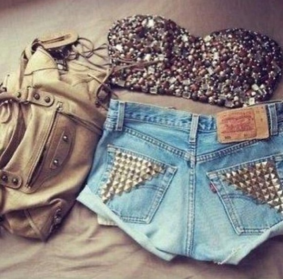 bag shirt sparkle crop tops high waisted short shorts