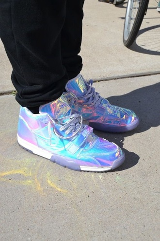 shoes menswear iridescent rainbow rainbow shoes silver nike shoes nike air