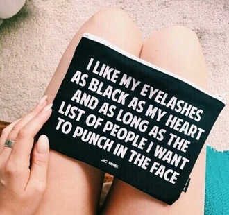 bag black quote on it grunge hipster i hate everyone mascara eyelashes make-up