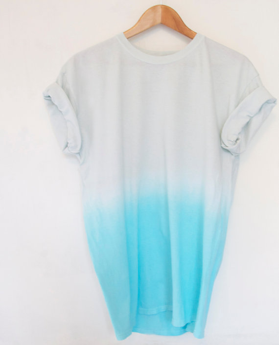 Grey to Turquoise Ombre Dip Dye 100 Cotton T Shirt by OhMyDays