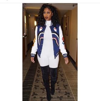 jacket bernice burgos blue white outerwear baseball jacket bape melanin curly hair boots thigh high boots curvy black girls killin it