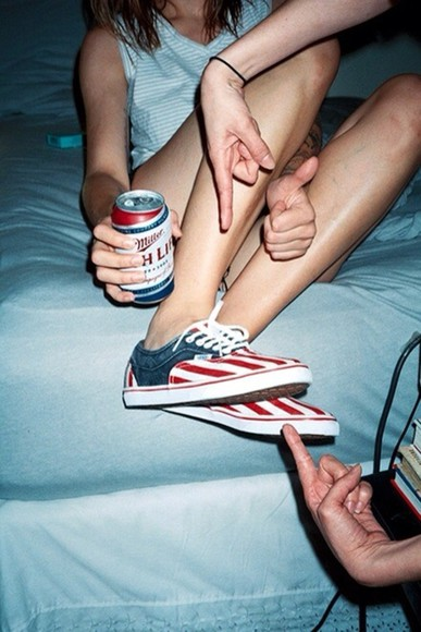 shoes vans white vans off the wall vans authentic vans sneakers blue red american flag printed vans american flag vans american flag sneakers