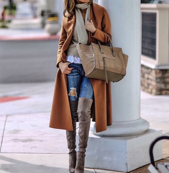 coat tumblr camel camel coat sweater beige sweater bag brown bag boots over the knee boots over the knee thigh high boots denim jeans blue jeans ripped jeans scarf winter outfits winter coat winter look