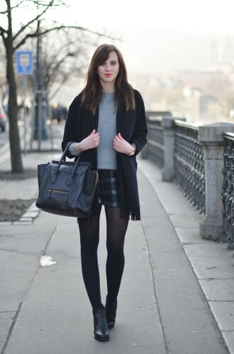 vogue haus blogger shorts celine bag tartan grey sweater black coat sweater coat shoes bag scarf jewels