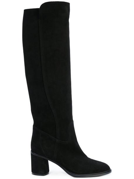 heel women heel boots leather suede black shoes