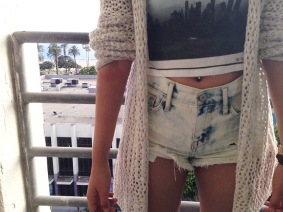 shirt top crop tops skyline sweater acid wash denim shorts tumblr oversized sweater shorts cardigan