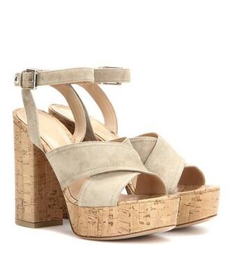 sandals platform sandals suede beige shoes