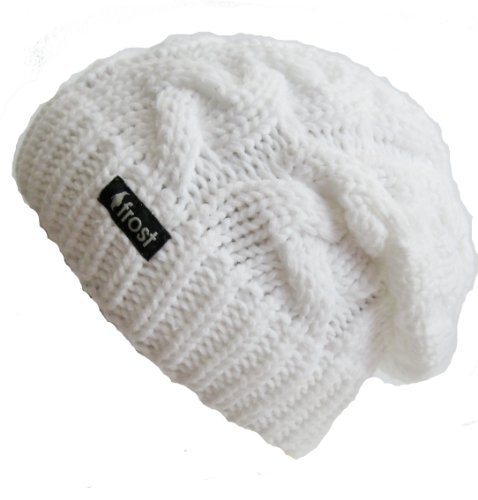 Frost Hats Winter Hat for Women WHITE Slouchy Beanie Cable Hat Knitted Winter Hat Frost Hats One Si on Wanelo