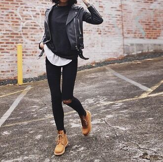 shoes timberland timberlands street streetstyle streetwear black ripped jeans trendy style fashion back to school leather jacket black leather jacket black leather school outfit all black everything girl black and white