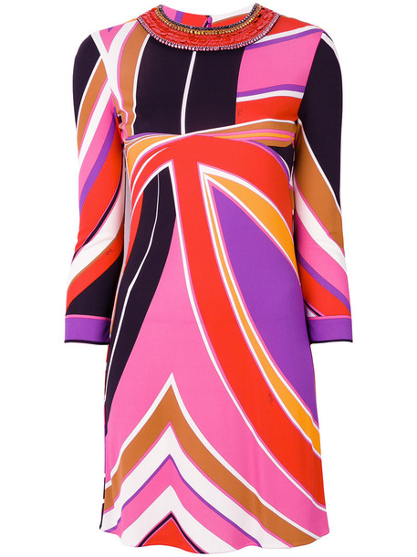 Emilio Pucci dress women spandex embellished silk