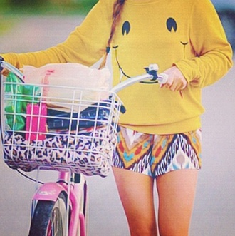 cute print bike smiley shorts yellow sweater shirt