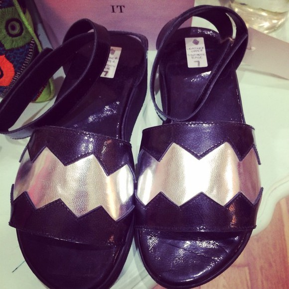 shoes metallic shoes sandals silver shoes high heels black silver wedges platforms black sandals zig zag triangle metallic platforms