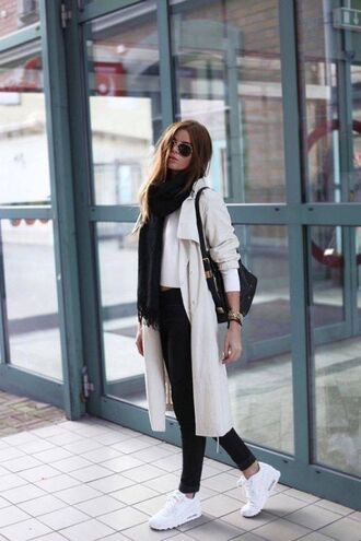 shoes black scarf white trench black jeans nike sneakers blogger sunglasses