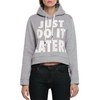 sweater hoodie just do it gym black rose wholesale streetstyle t-shirt grey fashion style long sleeves