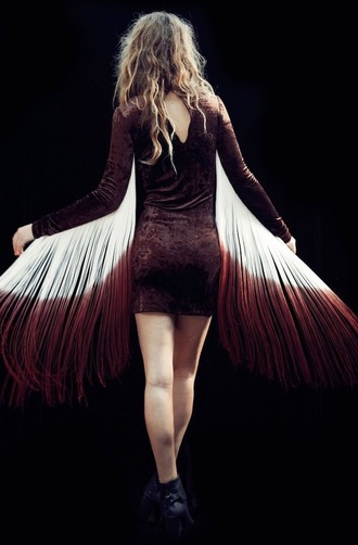 dress fringe velvet burgundy