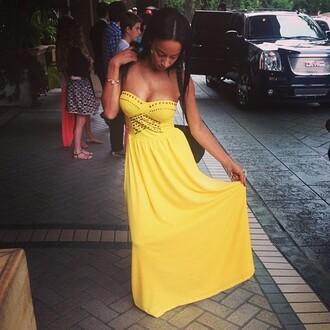 dress yellow yellow dress draya michele long dress studs design clevage